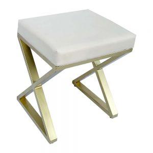 Ghế bàn trang điểm chân chữ X màu vàng đồng GTD010