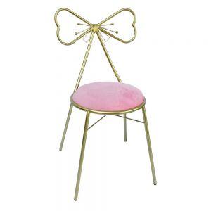 Ghế nơ bàn trang điểm nệm màu hồng GTD011