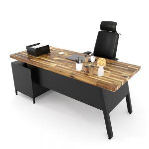 Bàn giám đốc 180x80cm gỗ tràm chân sắt vuông BGD68058