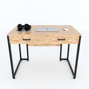 Bàn làm việc 2 ngăn kéo có tấm chắn gỗ cao su BD68076