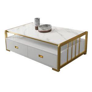 Bàn sofa khung inox xi mạ mặt đá trắng TT68158