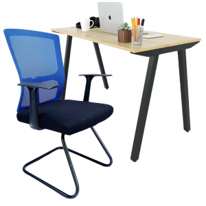 Combo bàn làm việc 120x60cm gỗ Plywood và ghế chân quỳ lưng lưới CB68138