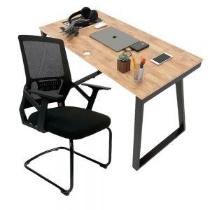 Combo bàn làm việc 120x60cm hệ Trapeze II và ghế chân quỳ lưng lưới CB68139