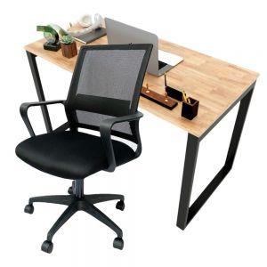 Combo bàn làm việc 120x60cm hệ Rectang và ghế chân xoay lưng lưới CB68140