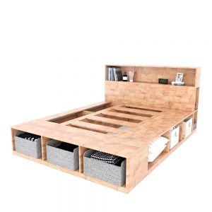 Giường ngủ kết hợp trang trí có hộc kéo gỗ cao su GN68035