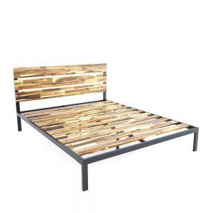 Giường ngủ đôi 160x200cm Gỗ Tràm khung sắt GN68033
