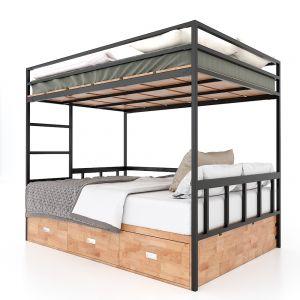 Giường tầng 140x200cm kết hợp hộc tủ gỗ cao su tự nhiên GT007
