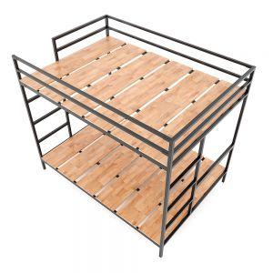 Giường tầng KIDO 140x200cm gỗ cao su khung sắt lắp ráp GT006