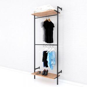 Kệ treo quần áo 2 tầng đơn giản gỗ cao su khung sắt KQA68050