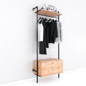 Giá kệ treo quần áo có hộc tủ gỗ cao su khung sắt KQA68053