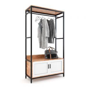 Kệ quần áo 100x40cm có hộc tủ gỗ cao su khung sắt KQA68048