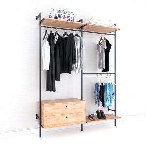 Kệ treo quần áo có hộc tủ gỗ cao su khung sắt KQA68051