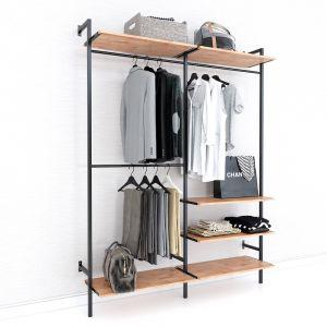 Giá kệ treo quần áo gỗ cao su khung sắt KQA68052