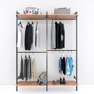 Giá kệ treo quần áo gỗ cao su khung sắt KQA68054