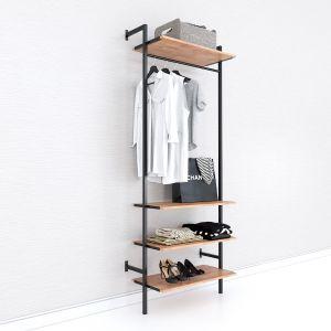 Giá treo quần áo đơn giản gỗ cao khung sắt KQA68055
