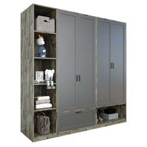 Module tủ quần áo 2m gỗ cao su màu nâu lau TQA68027