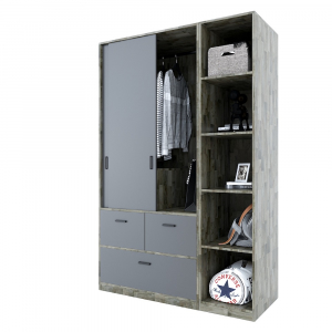 Module tủ quần áo hiện đại gỗ cao su tự nhiên TQA68040