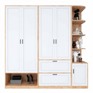 Module tủ quần áo hiện đại gỗ cao su tự nhiên TQA68024