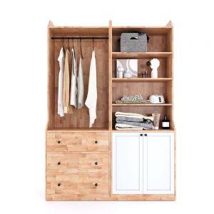 Module tủ quần áo hiện đại 1m4 gỗ cao su TQA68034