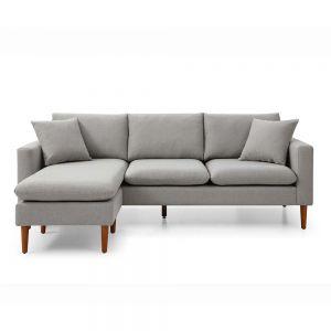 Sofa góc L 220x86cm nệm bọc vải chân gỗ SFL68023