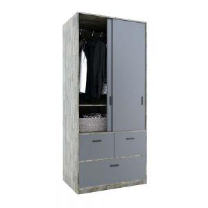 Tủ quần áo cửa lùa có hộc kéo gỗ cao su TQA68039