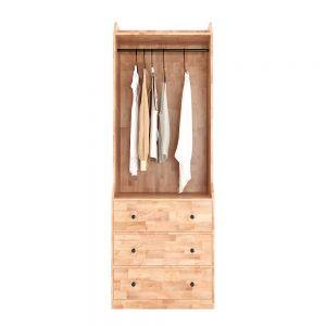 Tủ quần áo hiện đại có ngăn kéo gỗ cao su TQA68030