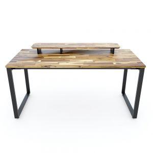 Bàn làm việc TaUPDesk 160x70cm kết hợp kệ gỗ tràm chân sắt lắp ráp  HBWD039
