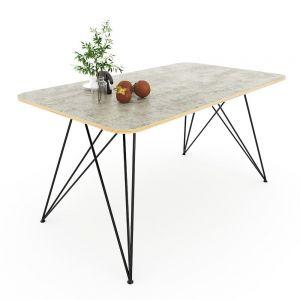 Bàn ăn ARES 02 gỗ Plywood màu bê tông chân sắt sơn tĩnh điện BA68079
