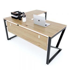 Bàn chữ L 160x150cm gỗ Plywood vân sồi chân sắt Kconcept HBKC039