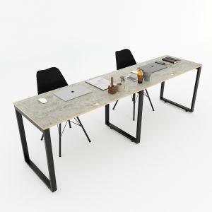 Bàn cụm 2 240x60cm gỗ Plywood màu bê tông hệ RECTANG HBRT050