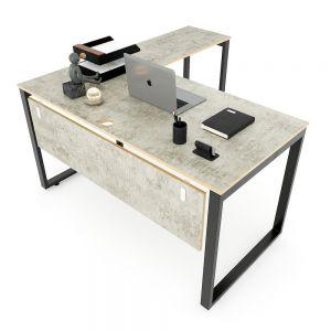 Bàn làm việc chữ L 140x150cm gỗ Plywood màu bê tông hệ RECTANG HBRT052
