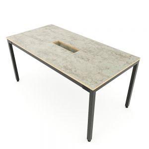 Bàn họp 160x80cm gỗ Plywood màu bê tông chân sắt hệ Uconcept HBUC052