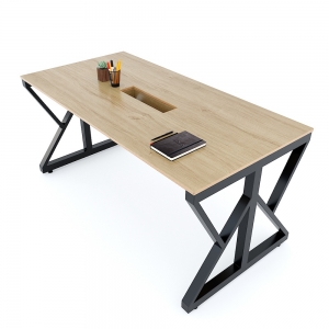 Bàn họp 160x80cm gỗ Plywood vân sồi chân sắt Kconcept HBKC041