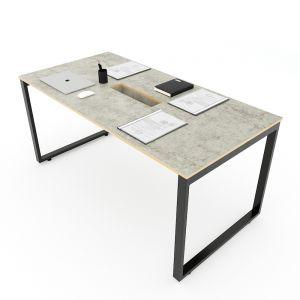 Bàn họp 160x80cm gỗ Plywood melamin màu bê tông hệ Rectang HBRT056