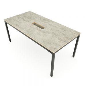 Bàn họp 180x90cm gỗ Plywood màu bê tông chân sắt hệ Uconcept HBUC053
