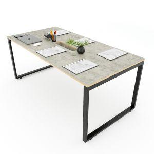 Bàn họp 180x90cm gỗ Plywood melamin màu bê tông hệ Rectang HBRT057