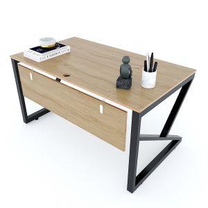 Bàn làm việc 140x80cm gỗ Plywood melamin vân sồi chân sắt hệ Kconcept HBKC033