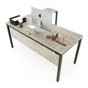 Bàn chữ L 160x150cm gỗ Plywood màu bê tông chân sắt hệ Uconcept HBUC050