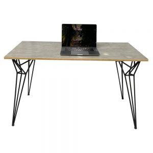 Bàn làm việc gỗ Plywood melamin màu bê tông chân sắt Hairpin Plus SPD68165