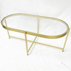 Bàn sofa Oval mặt kính khung vàng đồng TT68160