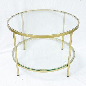 Bàn sofa tròn 2 tầng mặt kính khung vàng đồng TT68161