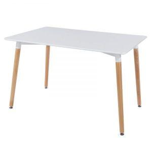 BA68001 - Bàn ăn hình chữ nhật chân gỗ sồi màu trắng - 120x80x73 (cm)