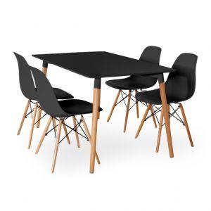 Bộ bàn ăn 4 ghế ngồi màu đen CBPA005