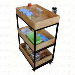 KB68001 - Kệ để đồ nhà bếp gỗ Kitchenshelf 3 tầng có bánh xe - 40x60x80 (cm)