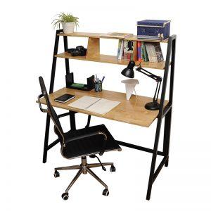 SHO68032 - Bộ bàn ghế ngồi học liền giá sách FrameDesk dành cho sinh viên - 120x60x75 (cm)