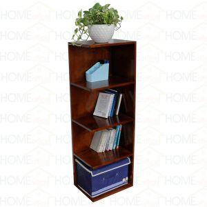 Kệ sách trang trí góc tường 5 tầng bằng gỗ cao su màu cánh gián