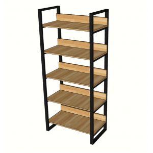KS68019 - Kệ sách trang trí 5 tầng gỗ cao su khung chân sắt - 80x40x180 (cm)
