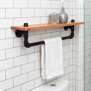 KPT68001 - Giá treo khăn nhà tắm gắn tường bằng ống nước kết hợp kệ để đồ  - 80x20 (cm)