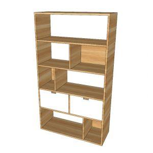 THS68005 - Tủ kệ hồ sợ văn phòng có ngăn tủ kéo gỗ cao su - 80x30x140 (cm)