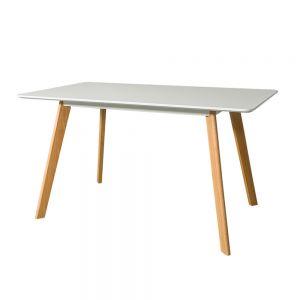 BA68005 - Bàn ăn MDF mặt chữ nhật chân gỗ sồi màu trắng - 120x80x73 (cm)